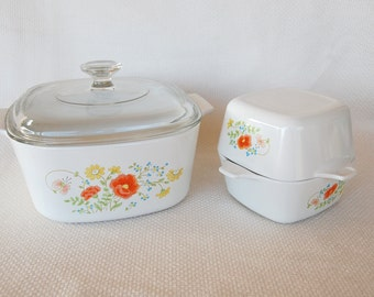 Set of Vintage Corning Ware Wildflower 3 Liter Casserole with Pyrex Lid and 2 Petite Pans P 43 B circa 1977-1985 Four Pieces Total