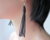 Leather Tassel Dangle Earrings Black or Brown Womens Casual Jewelry Gift