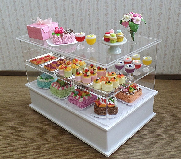 Dollhouse Miniature Bakery Set Display Cabinet By Beadspage