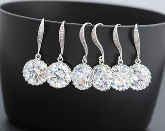 9 pairs of cz earring drop earring bridesmaid earring