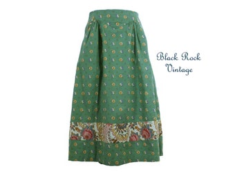 Midi Skirt, Boho Sage Floral, Vintage Joseph Magnin 1970s Size Small 25 inch waist XS