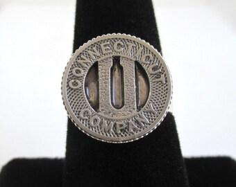 Connecticut Ring - Vintage Transit Token Repurposed Coin, Adjustable Size - U Conn
