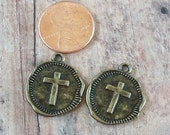 Bronze Pewter Cross Coin Charms