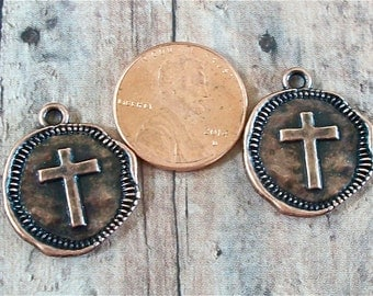 Antiqued Copper Pewter Cross Coin Charms