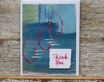 Thank you handpainted abstract card blank inside
