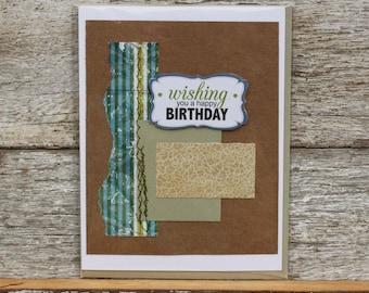 Happy Birthday mixed-media collage card blank inside