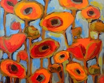 Red Poppy, flower print, fine art giclee, 12 x 9