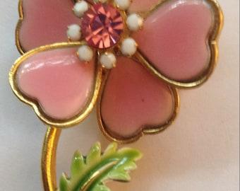 Vintage Pink Enamel Flower Brooch Rhinestones