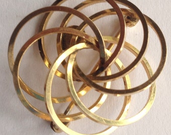 Sale Vintage 12K Gold Filled Multi-Circle Brooch