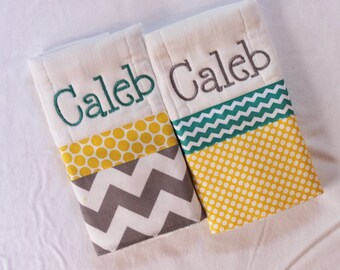 2 Personalized Burp Cloth Set in Teal, Yellow and Gray - Chevron and Polka Dots