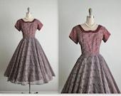 50's Chiffon Dress // Vintage 1950's Flocked Chiffon Full New Look Cocktail Party Dress S