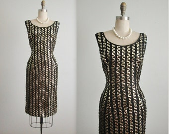 50's Sequin Wiggle Dress // Vintage 1950's Black & Gold Hourglass Marilyn Monroe Cocktail Party Wiggle Dress L