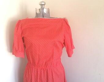 Vintage Red Polka Dot Vintage Dress 1980's