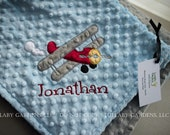 Airplane Personalize Minky Baby Blanket - Airplane Applique - Choice of Colors