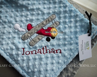 Airplane Personalized Minky Baby Blanket,  Airplane Minky Baby Blanket, Personalized Prop Plane Blanket, Personalized Biplane blanket