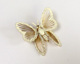 Monet Spinneret Brooch * White Enamel Butterfly * Vintage 1960s Jewelry