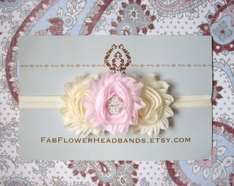 Ivory and Pink Flower Headband - Cream and Pink Baby Headband - Newborn Headband - Ivory and Pale Pink Shabby Flower Headband - Pearl - Girl
