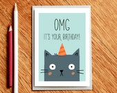 OMG It's Your Birthday! - Cat Birthday Card