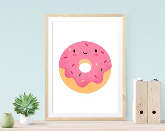 Happy Donut Print - Illustration, giclee art print