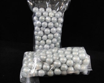 Silver 1 Inch Gumballs, Weddings, Baby Showers, Candy Buffets, Party Favors, Gumballs - 2 pounds