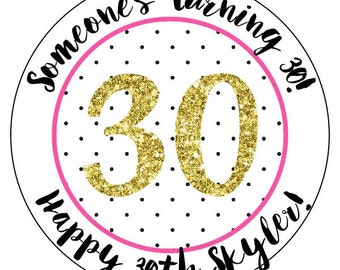30th birthday stickers, pink and black 30th party stickers, thirtieth birthday labels, gold glitter birthday stickers, 3 sizes available