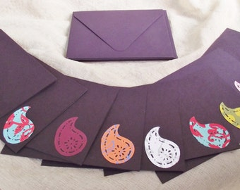 Paisley Greeting Card Handmade 4 x 5 Blank Birthday Multicolor Plum Eggplant Set of 10 All Occasion Cards Birthday Congratulations Thank You