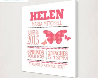 Girl's Birth Announcement Canvas // Personalized Custom Butterfly Canvas with Baby's name // Kid's Nursery Wall Art // Name Canvas Art