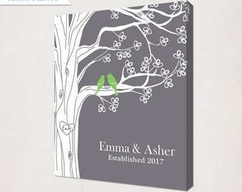 Grey & Green Personalized Family Tree with Birds Canvas // Custom Housewarming Wedding Anniversary Gift // Family Name and Date Canvas