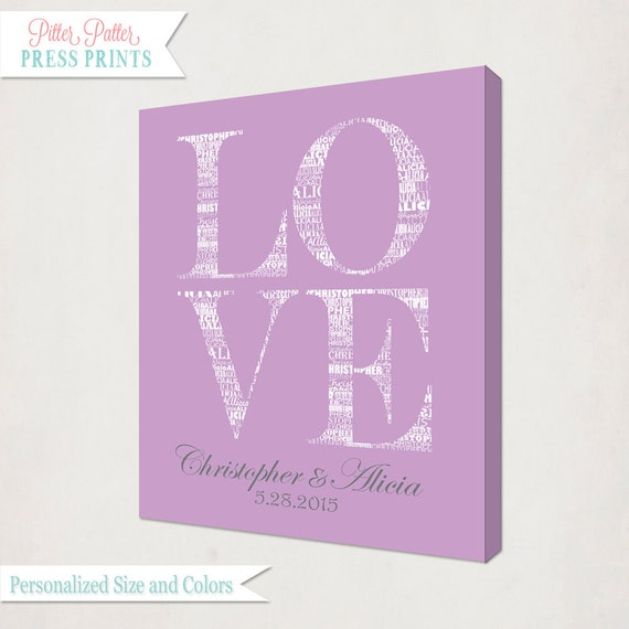 Wedding Gift Canvas Art : Love Art Canvas // Anniversary Gift // Personalized Wedding Wall Art ...