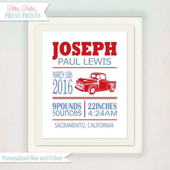 Personalized Boy's Birth Announcement // Custom Antique Ford Truck Print with Baby's name // Kid's Nursery Wall Art // Birth Print Word Art