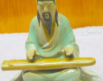 Oriental Man - Playing Instrument - Ceramic - 3 x 3 1/2 - EUC