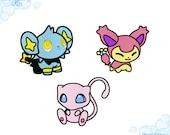 EMBROIDERY FILES: Pokedoll Set (Mew, Shinx, Skitty) Pokemon - Embroidery Machine Design