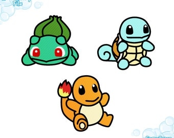 EMBROIDERY FILES: First Generation Starters (Bulbasaur, Charmander, Squirtle) Pokemon - Embroidery Machine Design