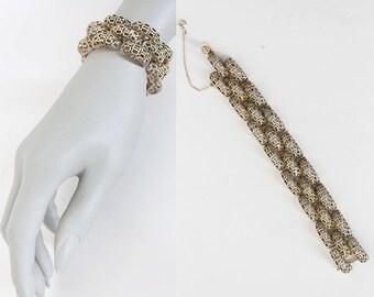SALE Vintage 70s Bracelet / 1970s Danecraft Sterling Silver Vermeil Brutalist Link Bracelet