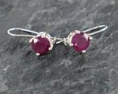 Ruby Earrings , Sterling Silver Earrings , Red Ruby Jewelry Gift For Girlfriend , Opaque Ruby Red Gemstone Earrings , Natural Ruby Earrings