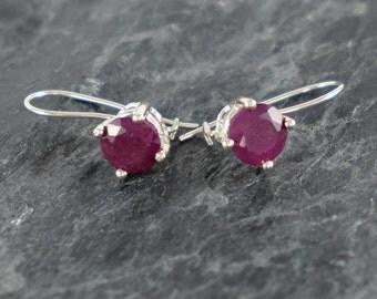 Ruby Earrings, July Birthstone Earrings, Sterling Silver Earrings, Red Ruby Jewelry Gift For Girlfriend, Natural Ruby Earrings