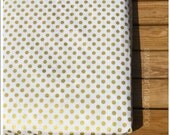 Metallic Gold Dot- Changing Pad Cover or Fitted Crib Sheet- Riley Blake Sparkle Medium Dot in Gold