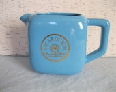 Bacardi Rum Blue Pitcher / Pitcher With Handle / Vintage / Robin's Egg Blue