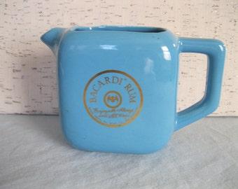 Bacardi Rum Blue Pitcher / Pitcher With Handle / Vintage / Robin's Egg Blue