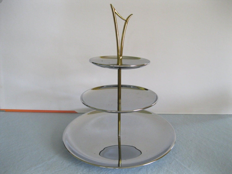 three tiered serving tray vintage tid bit tray mid century. Black Bedroom Furniture Sets. Home Design Ideas