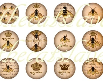 "Bee Pins, Bee Keepers Pins, Bee Magnets, Bee Cabochons, Bee Badges, Bees on Text, 1"" Inch Cabochons, Flat Back Buttons, Hollow Backs, 12 ct"