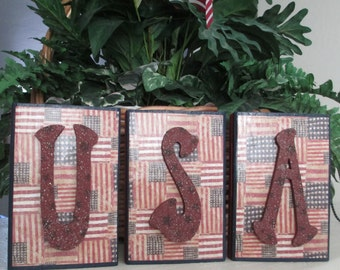 USA Wooden Blocks for Mantel or Shelf- Americana - 4th of July