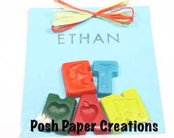 Personalized Name crayons with named stapmed - five (5) letters