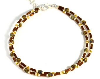 Boho Jewelry Anklet in Mustard and Brown
