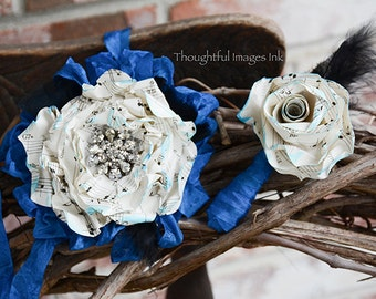 A set of matching boutonniere and wrist corsage for weddings,homecoming, prom, or any special occasion