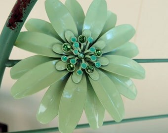 Big Enamel Flower Brooch/Pendant Vintage Mint Green with Rhinestones