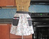 Bicycle Half Apron with Black Contrast, Bicycle Half Apron, Half Apron, Half Apron with Bicycle Print and Black Polka Dot Contrast