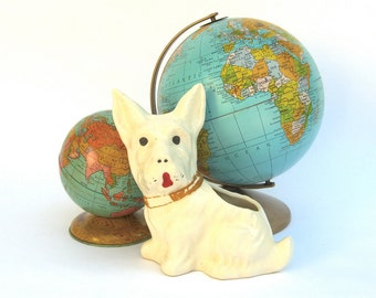 White Scotty Scottie Planter Vase, Scottish Terrier Cairn, Retro 1950's Dog Animal Figurine, Mid Century Decor, Knick Knack Kitsch