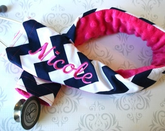SALE!!  Embroidered Stethoscope Cover, Stethoscope ID Tag, RN, Nurse,  Doctor, Nurse Gift, Name Tag - Navy Chevron with Fuchsia