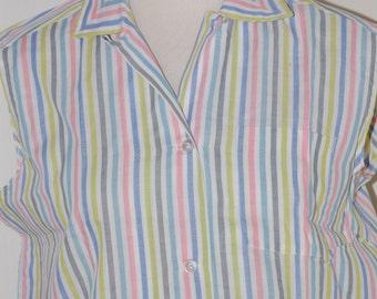 50s blouse, NOS, Pastel Stripes. Summer, Sleeveless, Lady Sutton, Size Medium